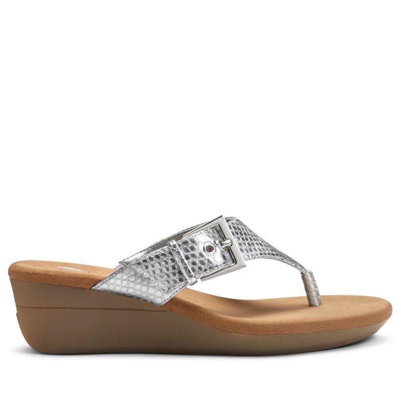 aa9467530741 Aerosoles Women s Flower Wedge Sandals (Silver Snake)
