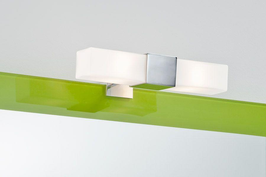 Aplique para espejo de baño. Diseño cuadrado. En cromo y tulipas de ...