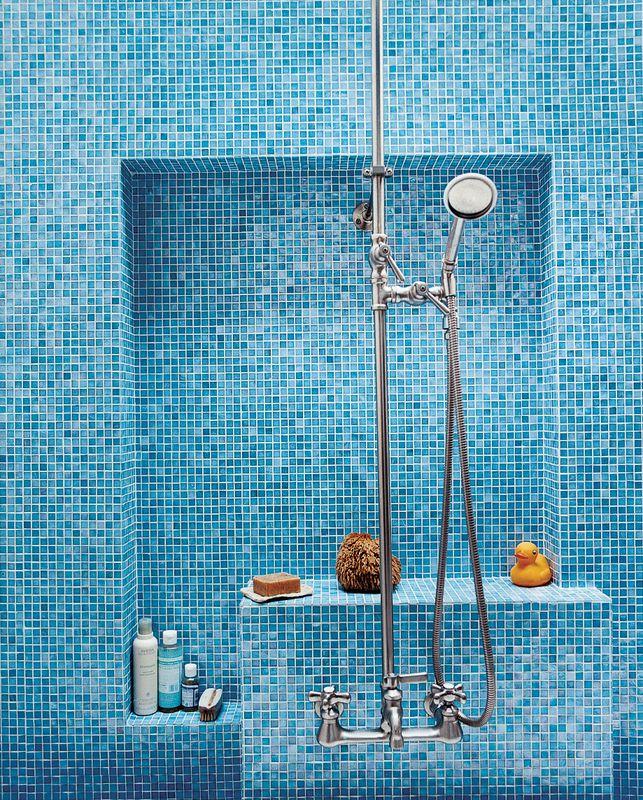 Mission Statement Blue Bathroom Tile, Blue Glass Tile Bathroom