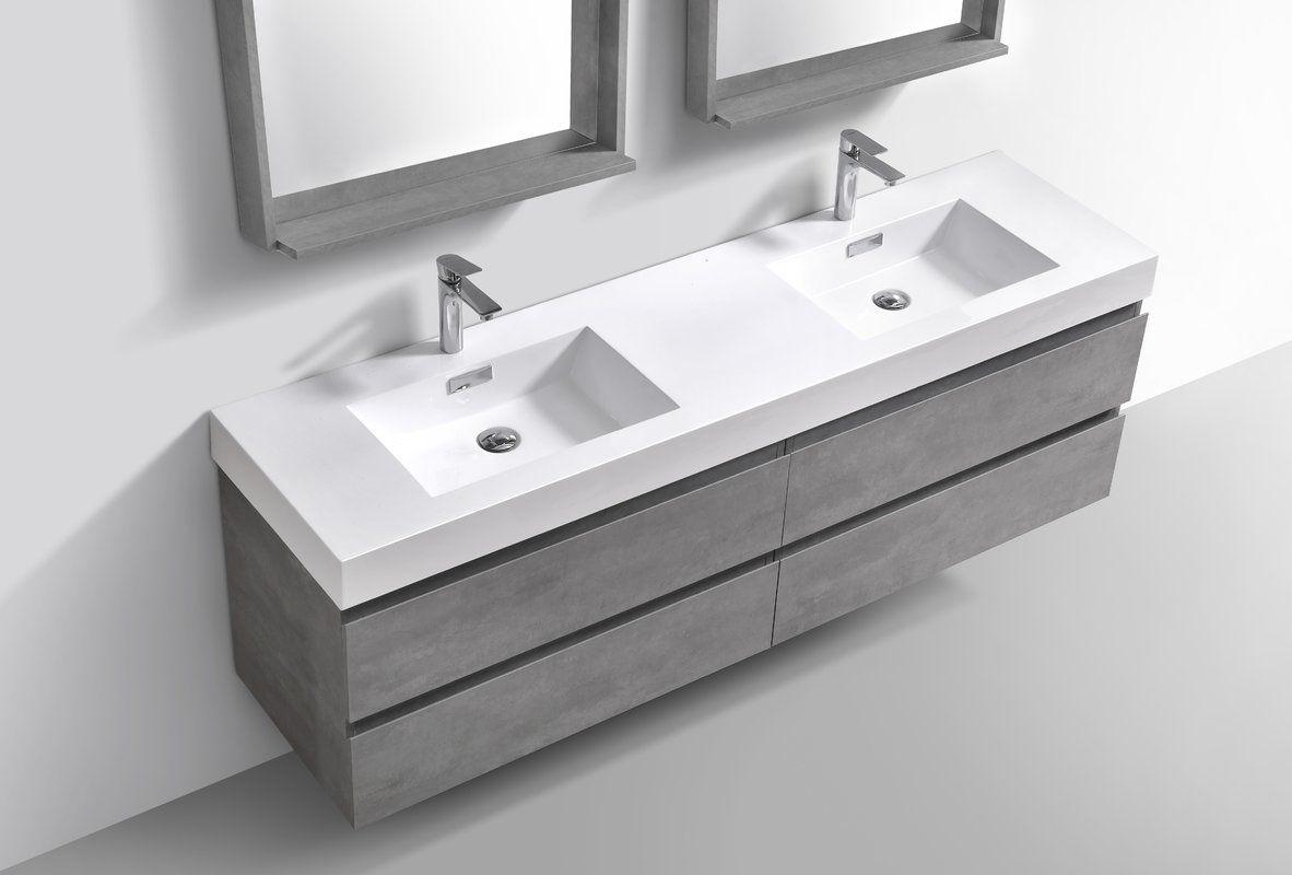 Sinope 79 Wall Mounted Double Bathroom Vanity Set Double Vanity
