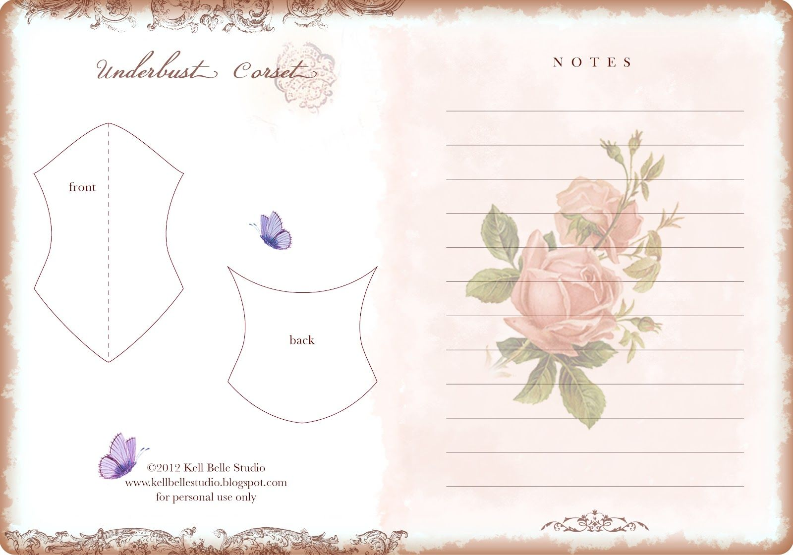 paper corset journal page and corset template by Kell Belle Studio ...