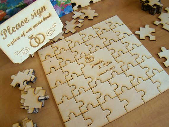 Solid Birch Wood Custom Personalized Wedding Puzzle Piece Guest Book Signing