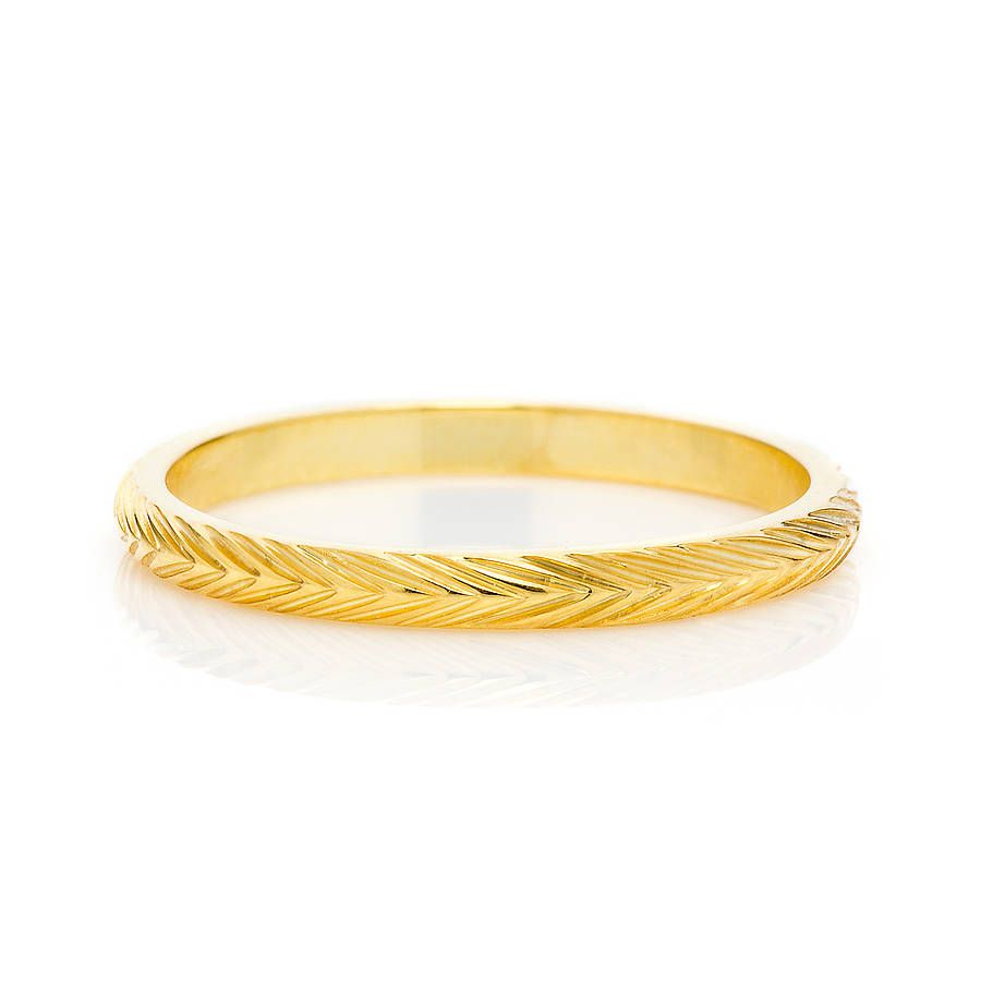 Fairtrade 18ct Gold Wheat Engraved Ring 2mm Engraved Rings Wedding Rings Classic Wedding Rings