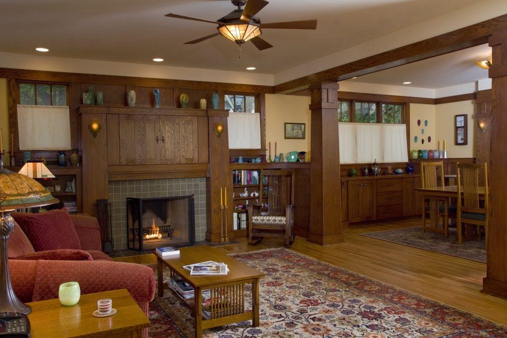 New build: Craftsman Bungalow living room / firep | Craftsman ...