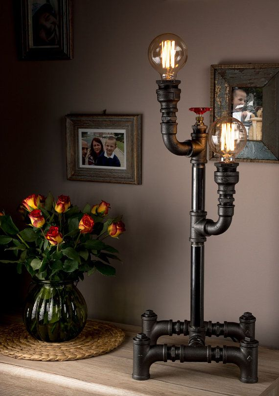 Luxma handmade in uk table lamp industrial style iron pipes with luxma handmade in uk table lamp industrial style iron pipes with dimmer and e27 40w edison antique bulbs round cloth wire uk plug greentooth Choice Image