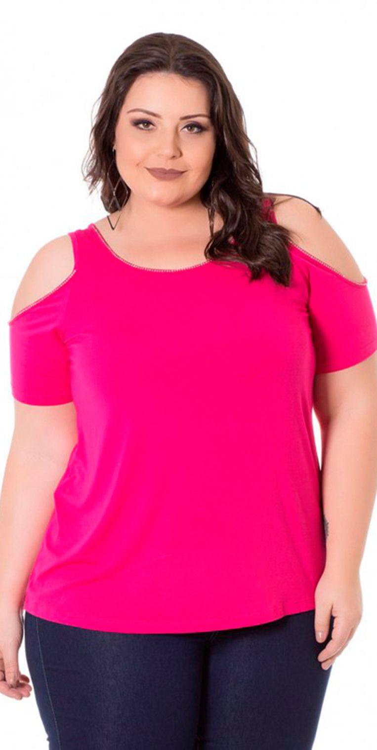 Blusa Viscolycra com Ombros Vazados Rosa Miss Masy Plus Size ... 1076c092d76f6