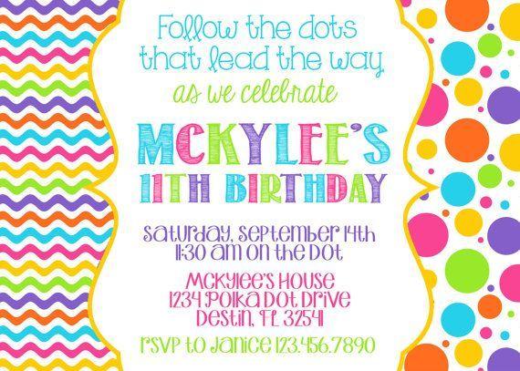Polka Dot Birthday Party Invitations POLKA DOT INVITATION 5x7