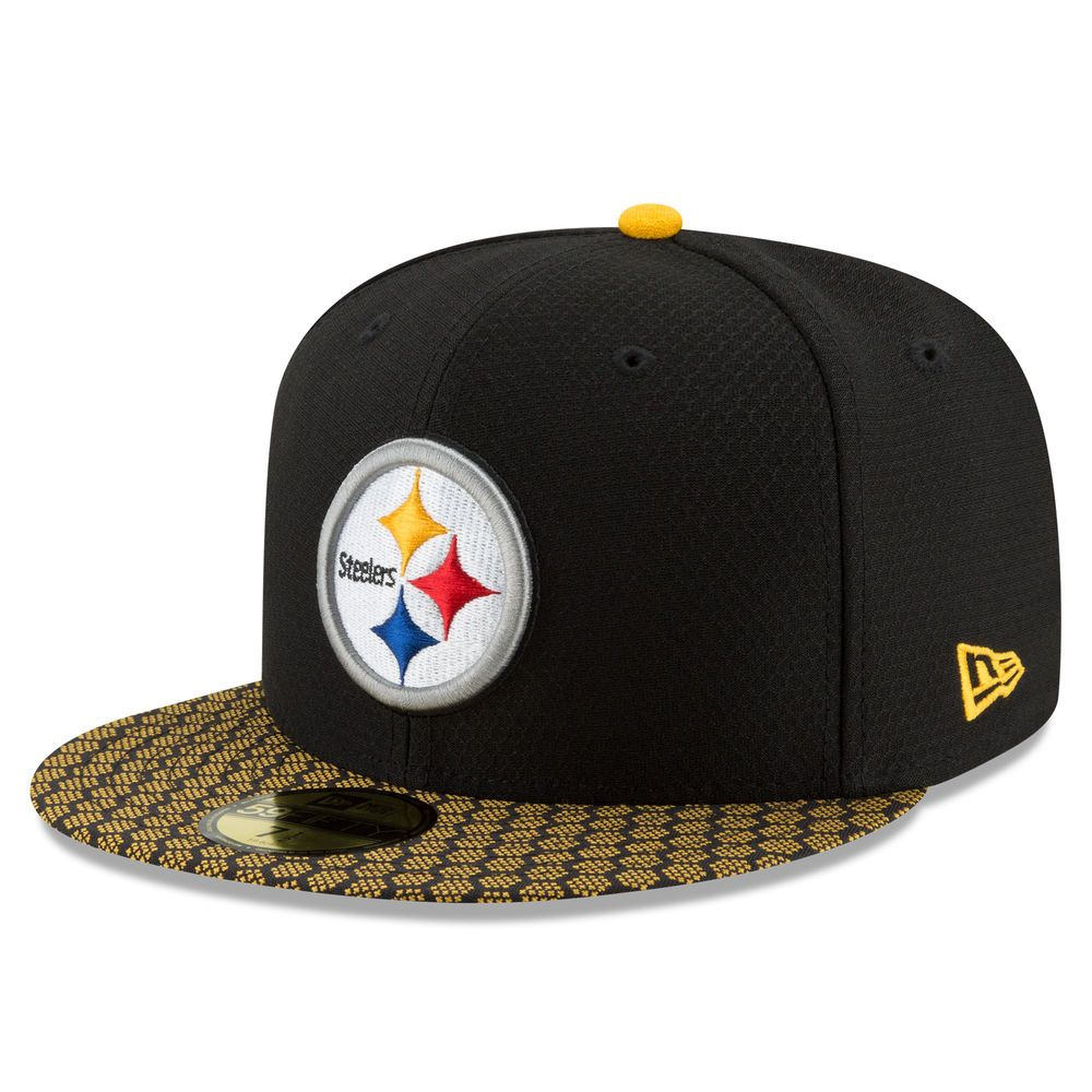 5b150e0e53e Men s Pittsburgh Steelers New Era Black 2017 Sideline Official 59FIFTY  Fitted Hat