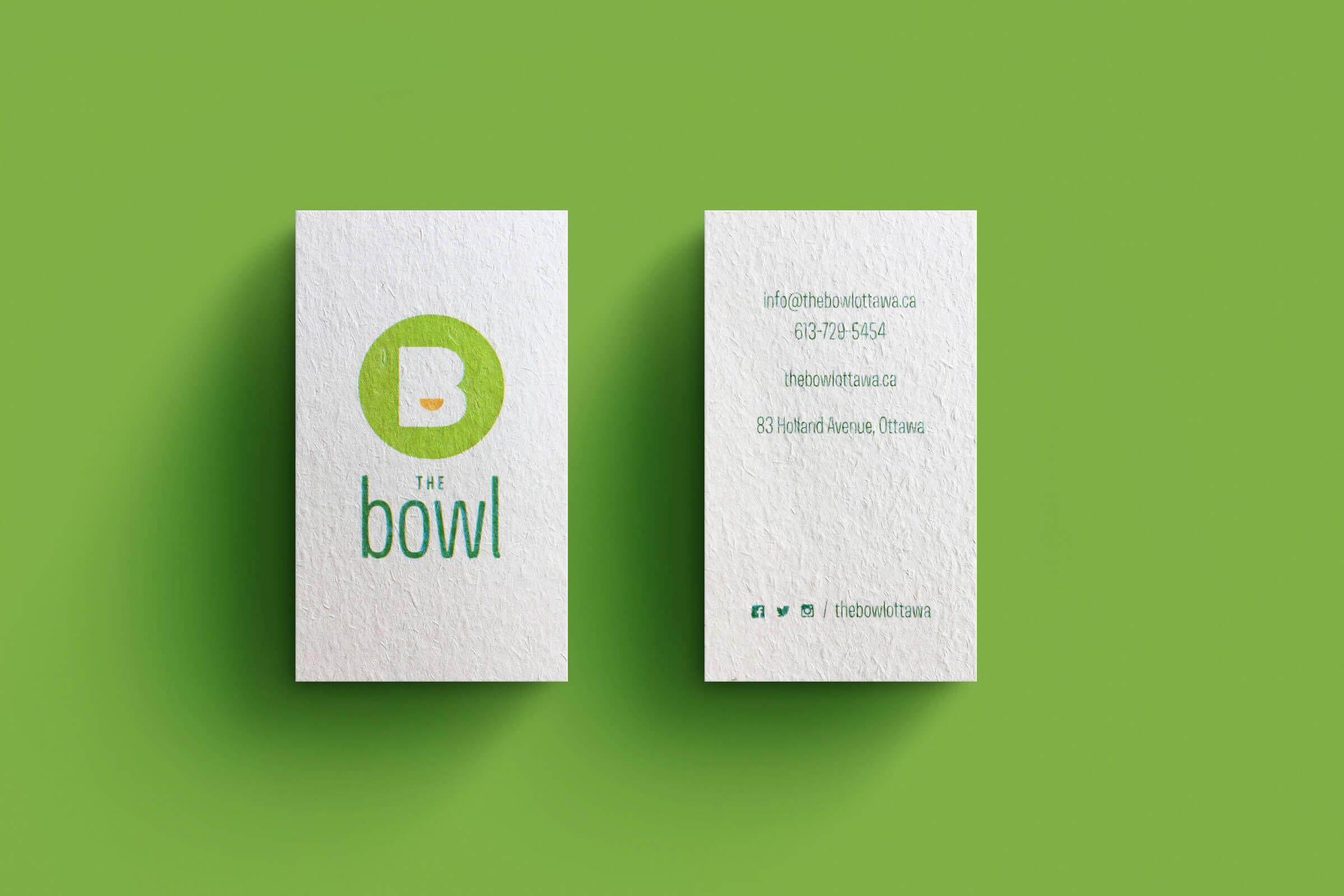 The bowl branding for an ottawa restaurant pinterest graphic business card design for the bowl an ottawa based one dish restaurant reheart Choice Image