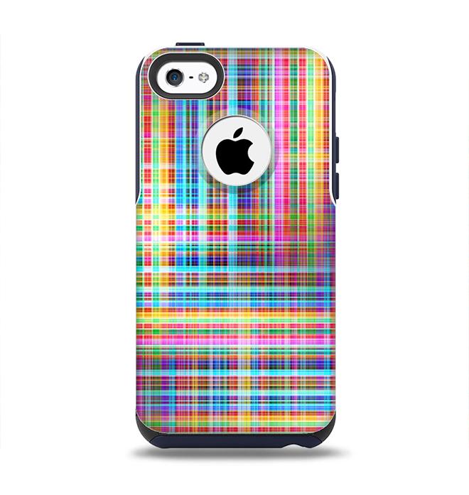 The Neon Faded Rainbow Plaid Apple iPhone 5c Otterbox Commuter Case Skin Set