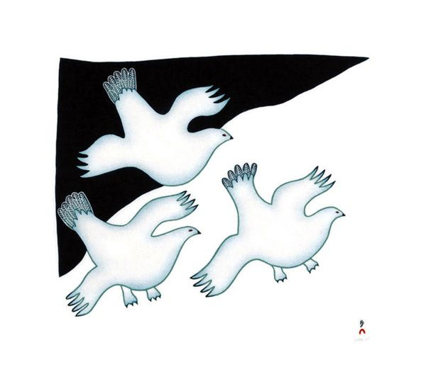 Ptarmigan's Arrival, by Ningeokuluk Teevee (Inuit Artist), 2009 -- Stonecut and stencil