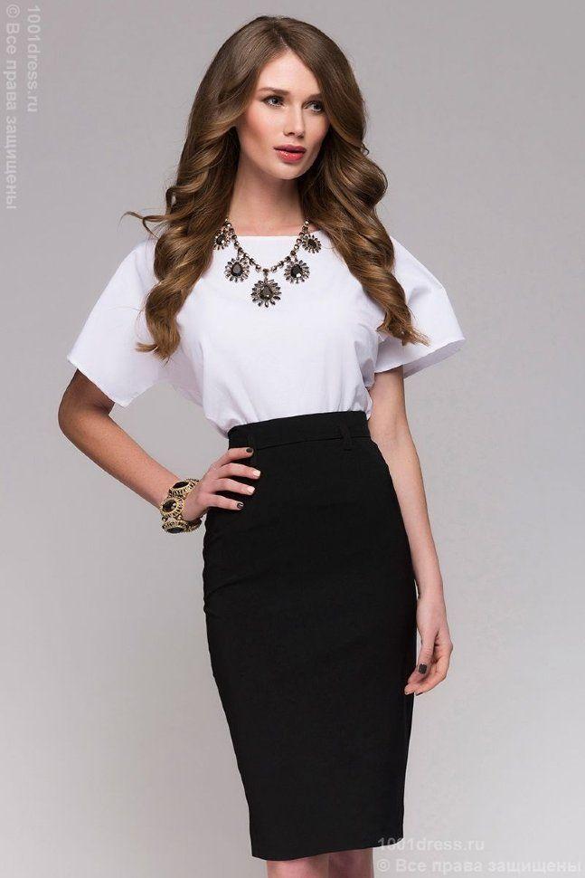 Черная юбка-карандаш длины миди | Черные юбки, Юбка ...