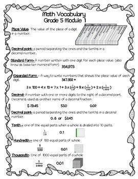 Math Vocabulary Quiz Grade 5 Module 1   Math   Math