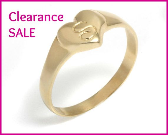 CLEARANCE SALE US Size 6 25 Small Heart Signet Ring with