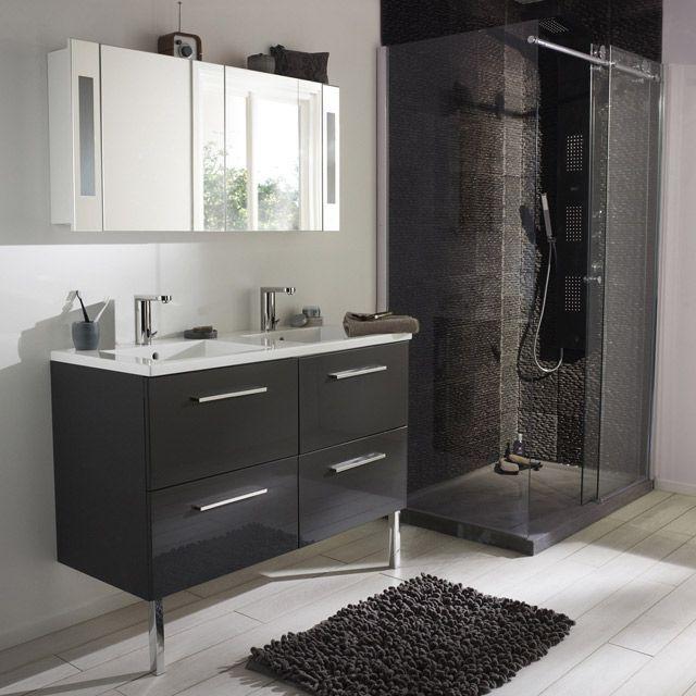 Meuble de salle de bain noir de chez Castorama - Gamme Seton ...