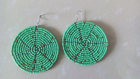 Photo of ON SALE African Beaded Earrings, African jewelry, African Earrings, Green Beaded Earrings, Masai Ear