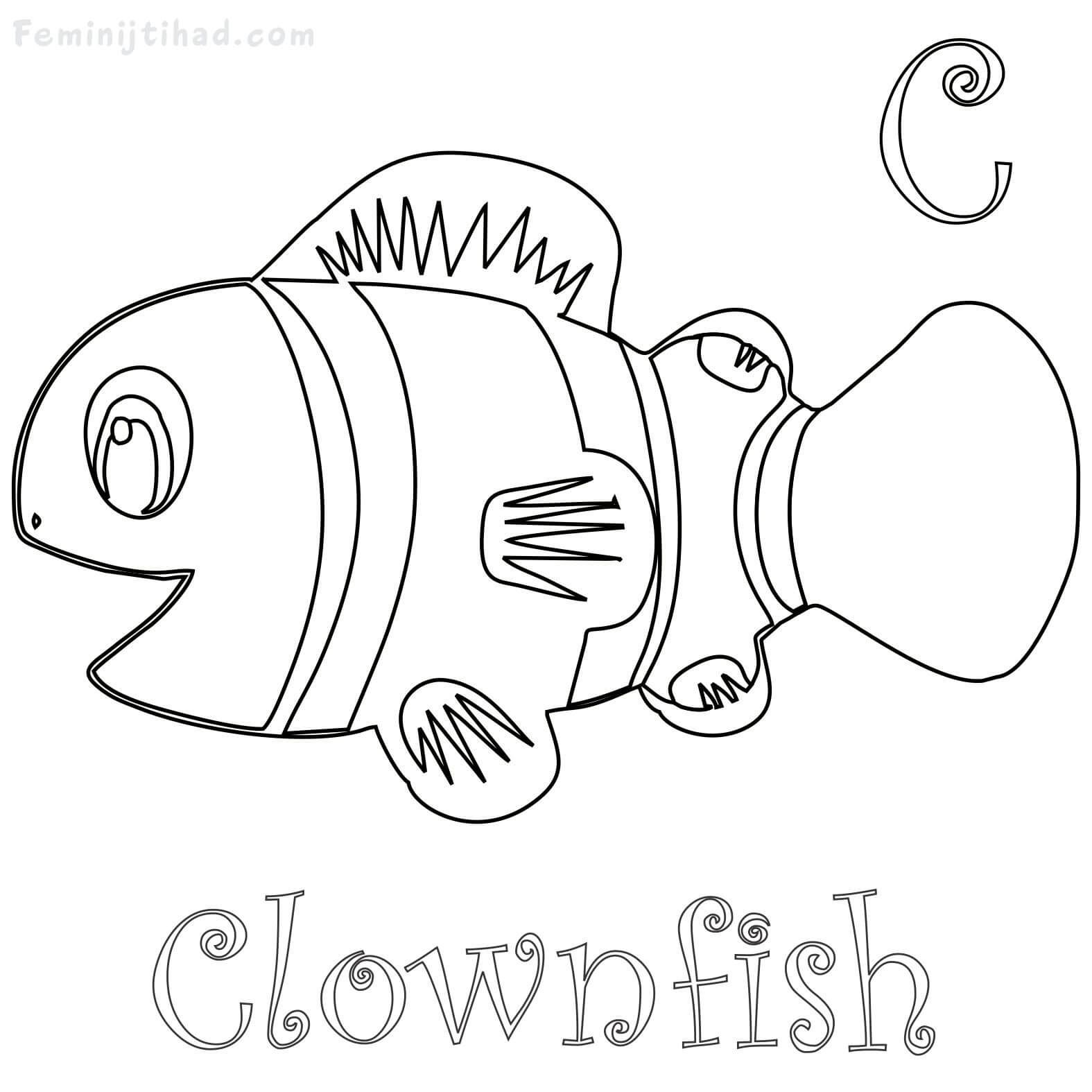 C For Clownfish Coloring Pages Printable Free Coloring Sheets Fish Coloring Page Animal Coloring Pages Clown Fish