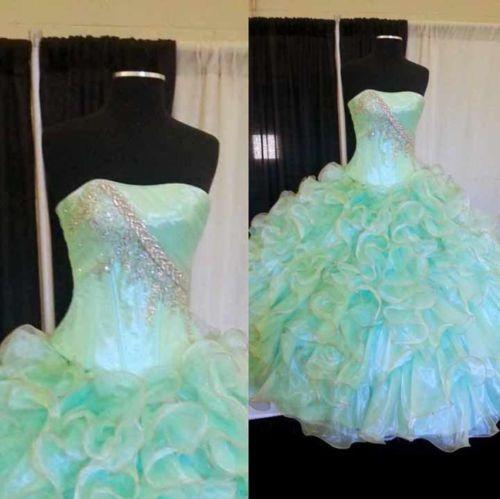 Nuevo-Quinceanera-Organza-formal-Prom-Pageant-Partido-Ball-Gown-Vestido-De-Boda-Personalizado