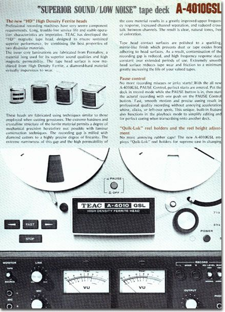 Brochure For The Teac A 4010gsl Reel Tape Recorder In