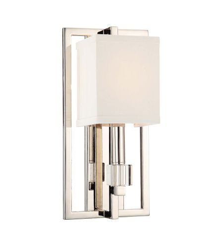 Crystorama 8881-PN Dixon 1 Light Sconce in Polished Nickel