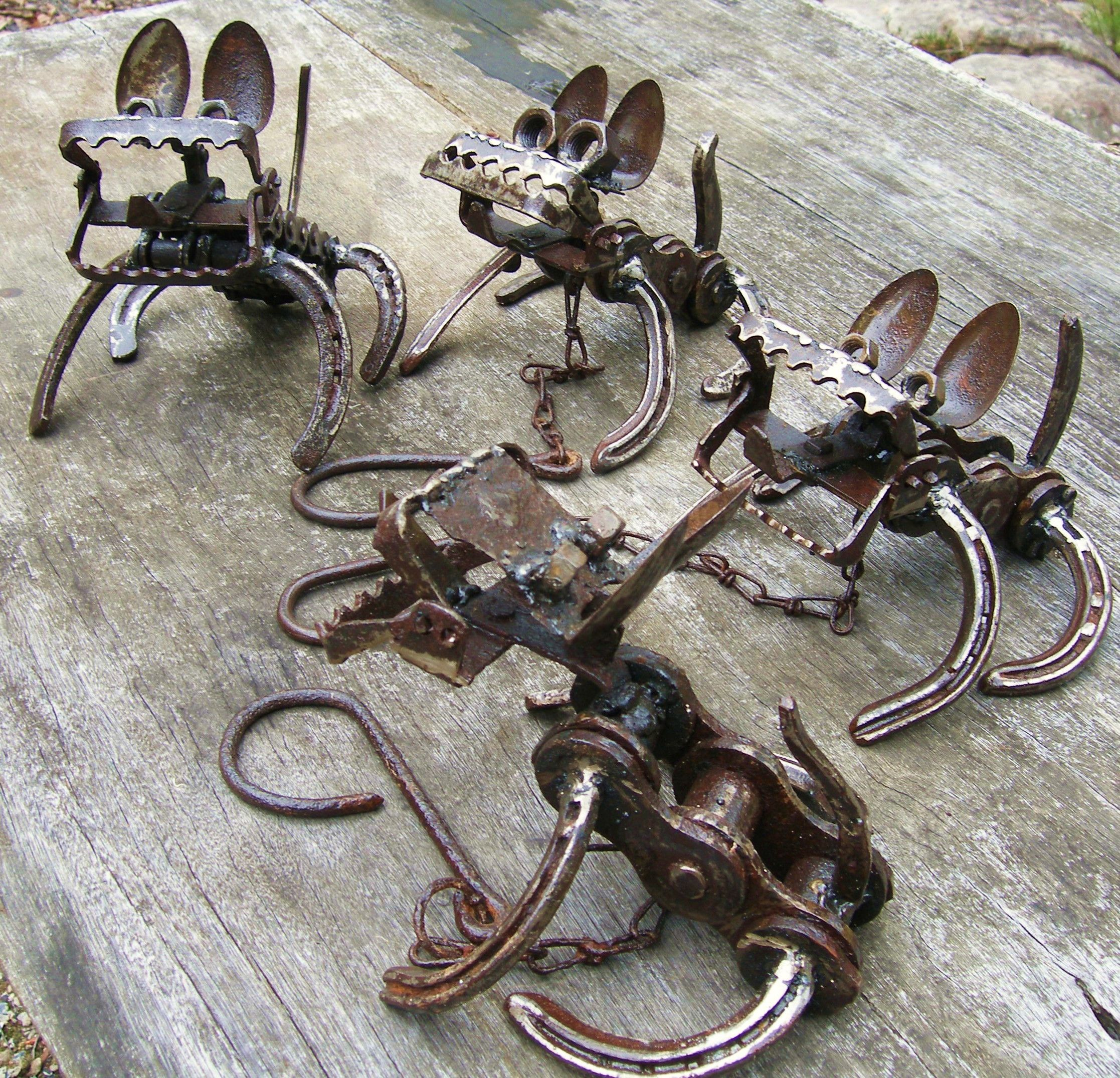 garden art from recycled materials metal dogs Jangling Jack
