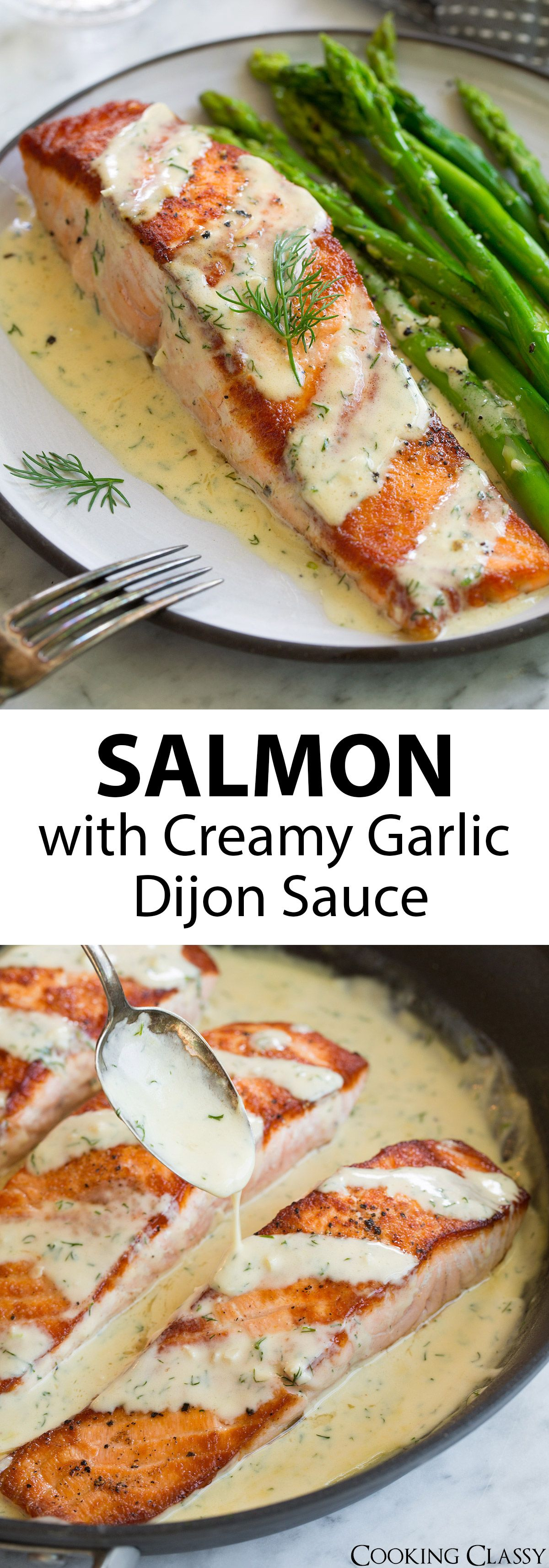 Salmon with Creamy Garlic Dijon Sauce - This is such a flavorful, elegant salmon recipe that anyone can pull of. It's comes together so quickly yet it's sure to impress anyone. Pan seared salmon is perfectly delicious on it's own but when you add a bright sauce like this it takes it to a whole new level! #salmon #recipe #pansearedsalmon #easydinner  via @cookingclassy #salmonrecipes