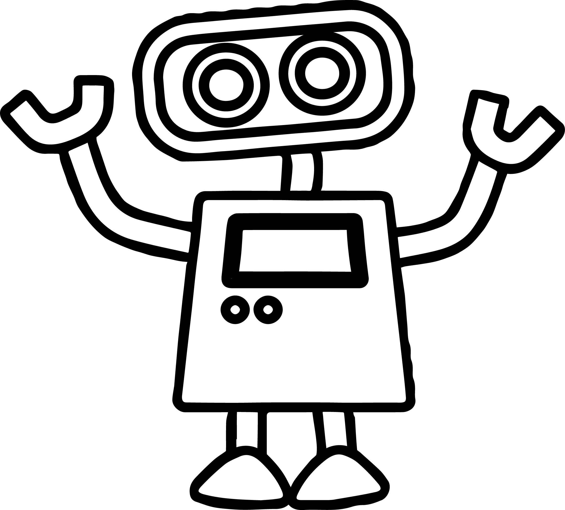 Nice Basic Cute Robot Coloring Page