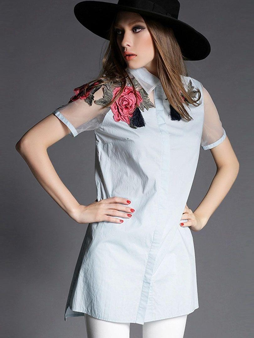 Light blue embroidery organza panel short sleeve shirt