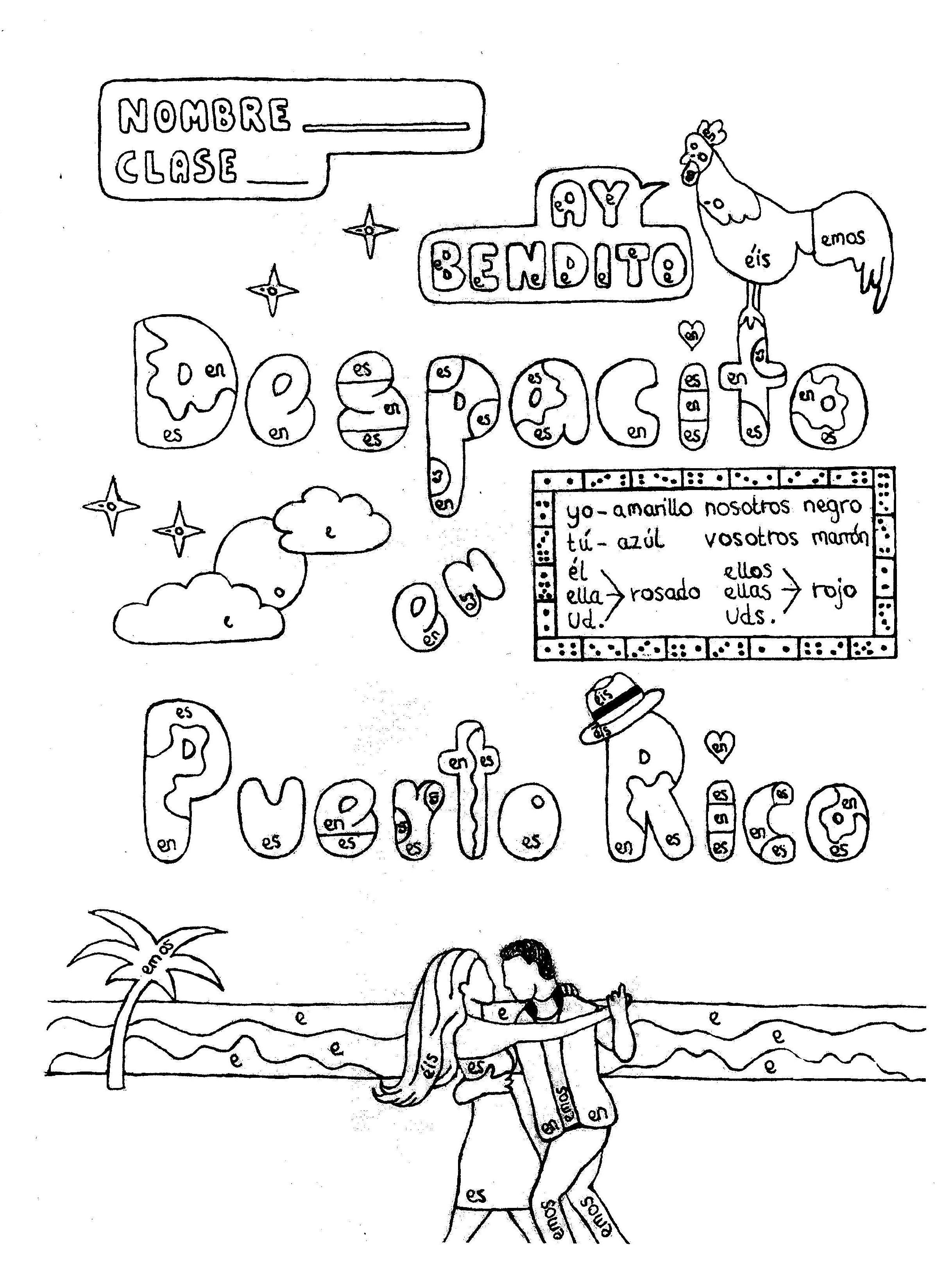 Spanish Er Verbs Color By Conjugation Despacito Puerto