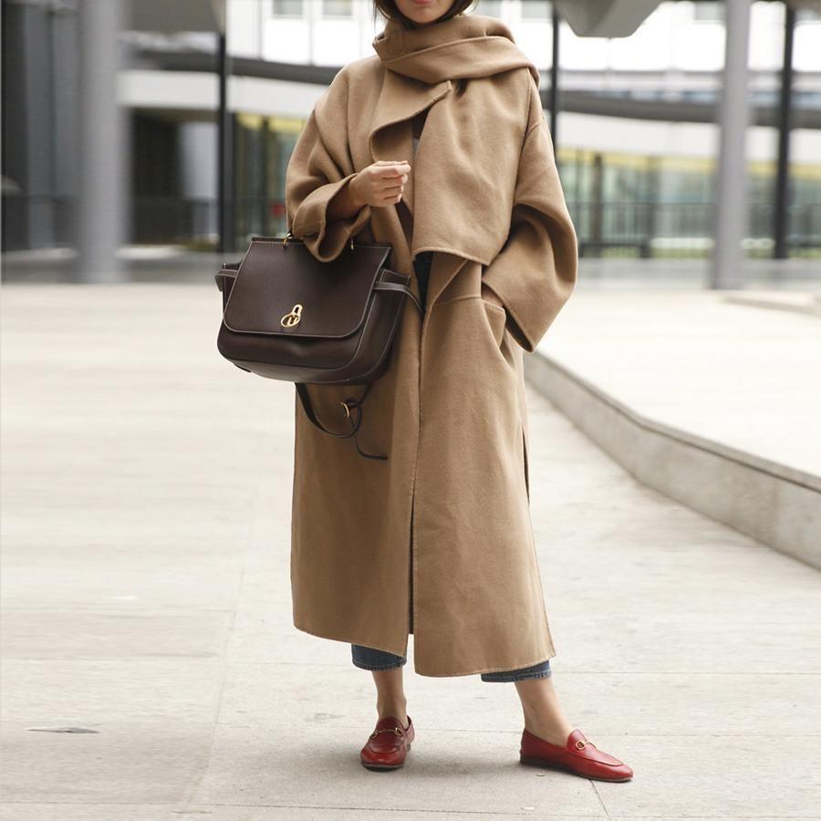 Women Plain Woolen Side Split Outerwear