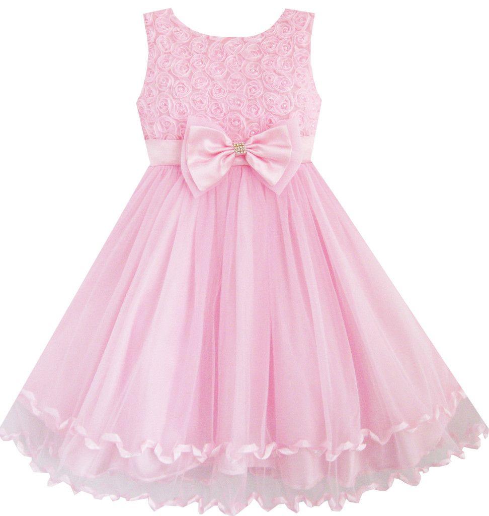Little girl dresses for weddings  Girls Dress Pink Rose Bow Tie Belt Wedding Birthday Party Size