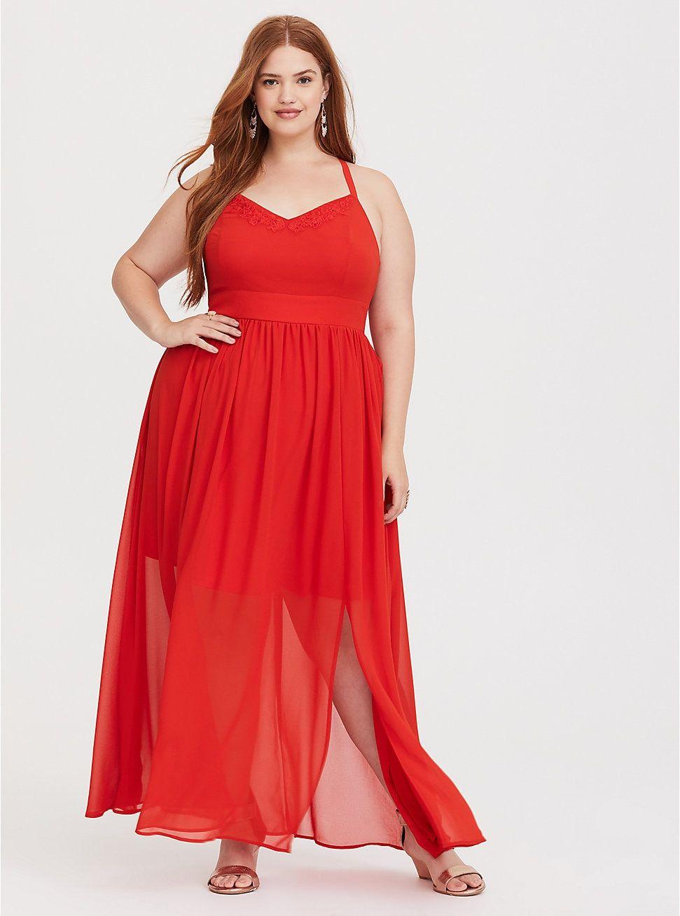 dc3376cec02 Plus Size Orange Embroidered Chiffon Maxi Dress