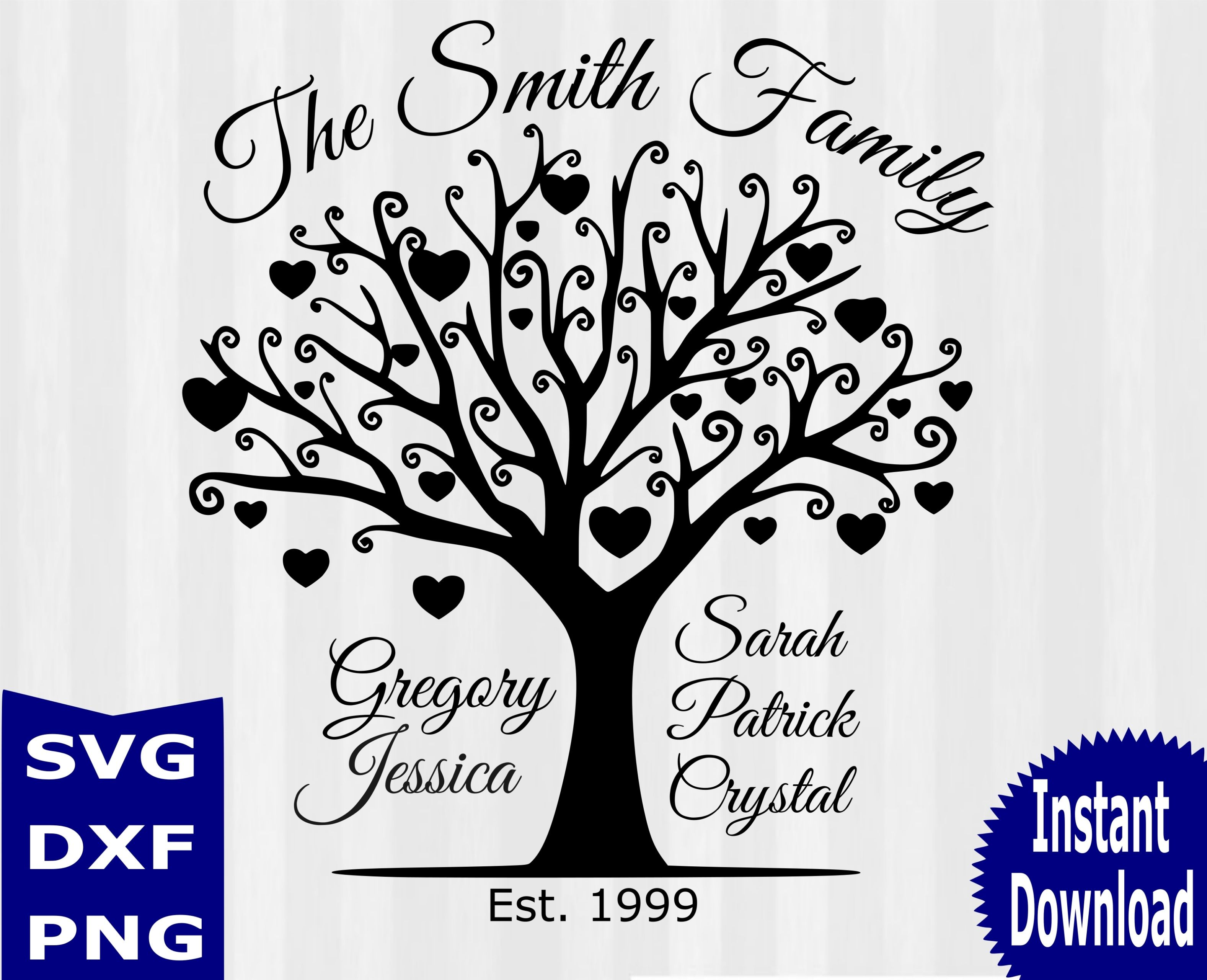 Family tree digital download family tree svg files for Family picture design
