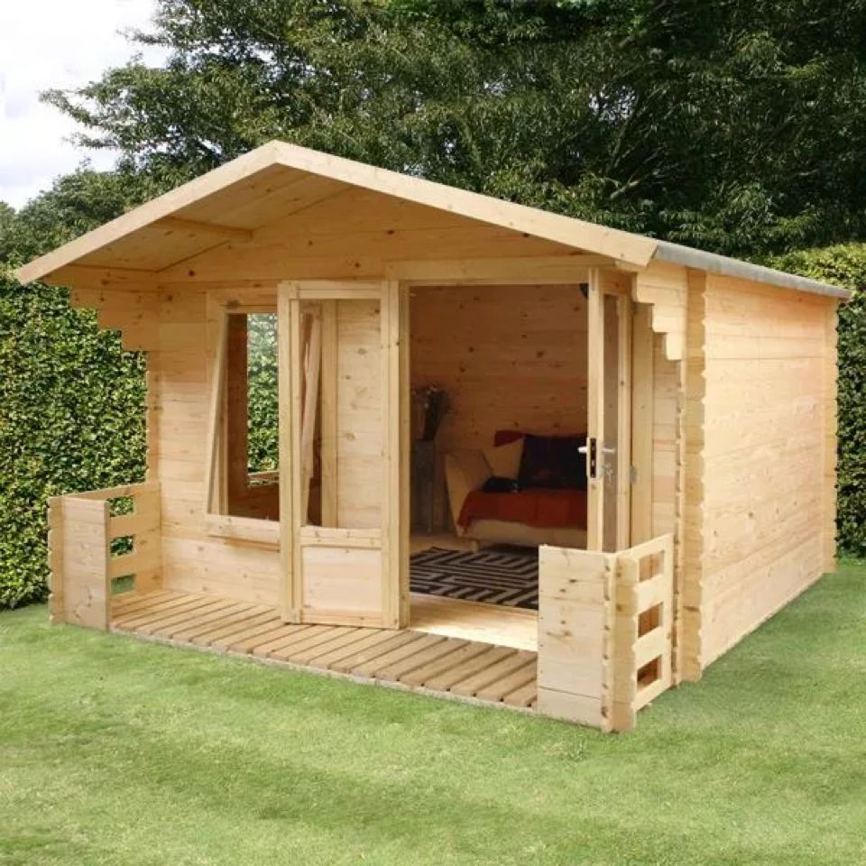 3.3m x 3.4m WOODEN GARDEN LOG CABIN WITH VERANDA 19mm TONGUE ...