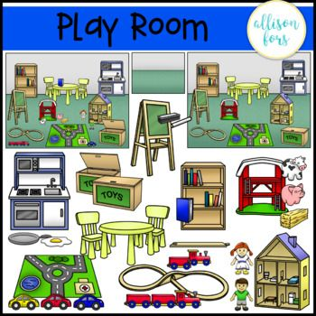 Play Room Clip Art Use For Functional Life Skills At Home Includes Dollhouse Train Set Farm Set Play Kitchen And More Clip Art Toy Clip Playroom