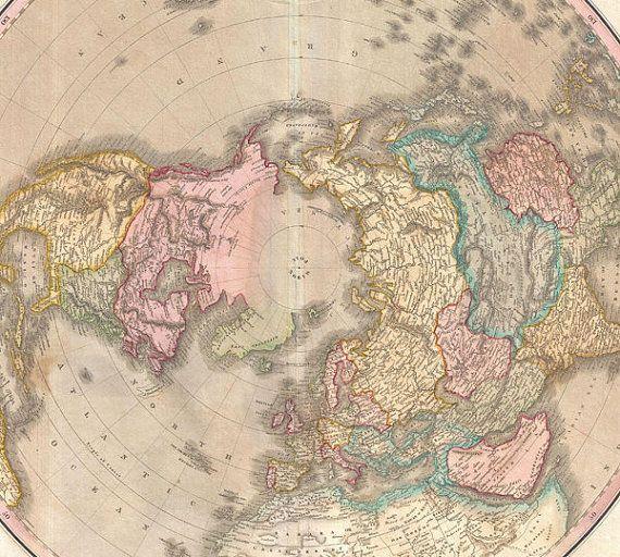 Antique World Map Print Northern Hemisphere Arctic Explorer - Victorian world map