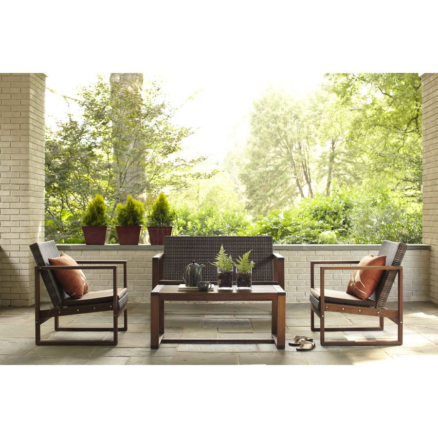 Garden Treasures Set Of 2 Canal Point Wood Patio