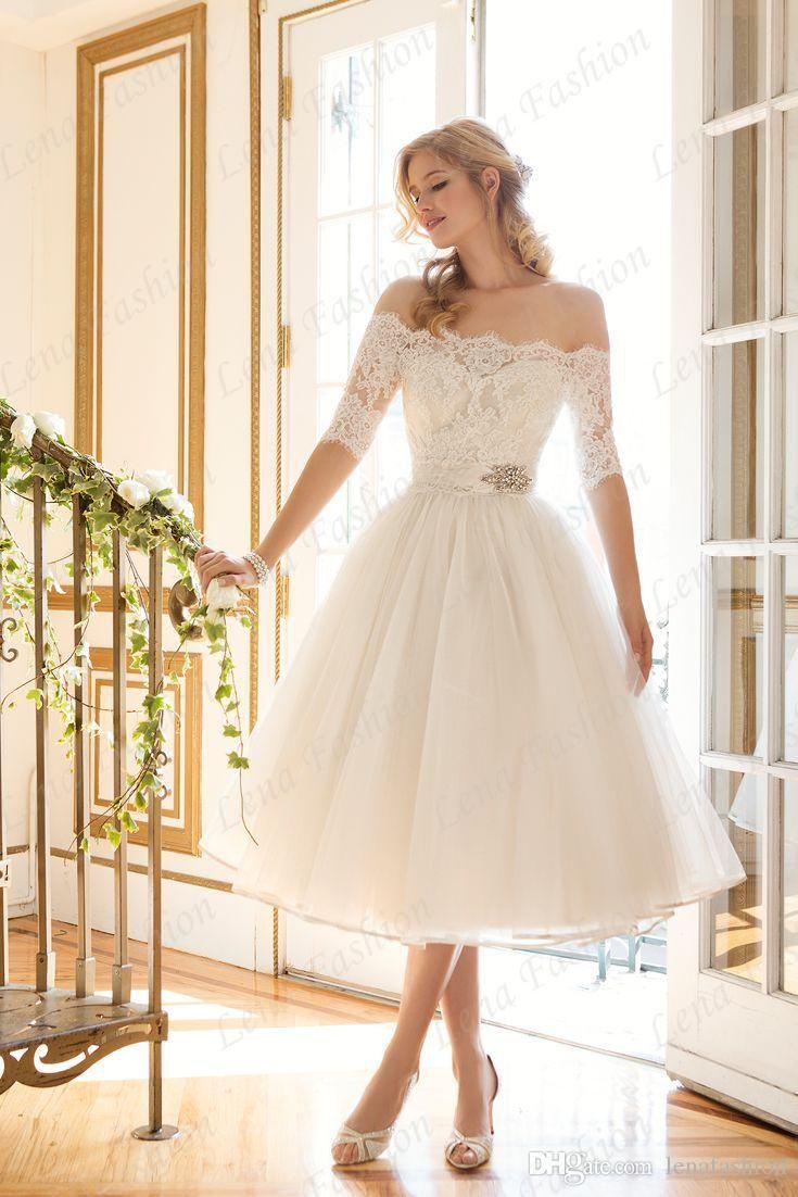 Cheap Elegant Off The Shoulder Short Wedding Dress A Line Tea Length