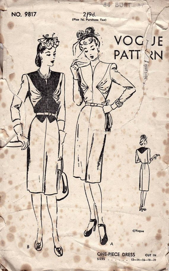 40s Vogue sewing pattern, vogue 9817, bust 34 inches, dress sewing ...