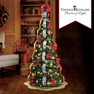 First Ever Thomas Kinkade 6 Pre Lit Pull Up Christmas Tree Pull Up Christmas Tree Pre Lit Christmas Tree Unique Christmas Trees