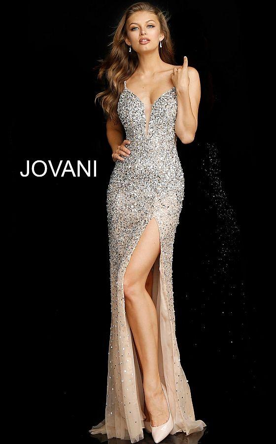 Jovani 57932 | Silver Nude Embellished Slit Formal Dress
