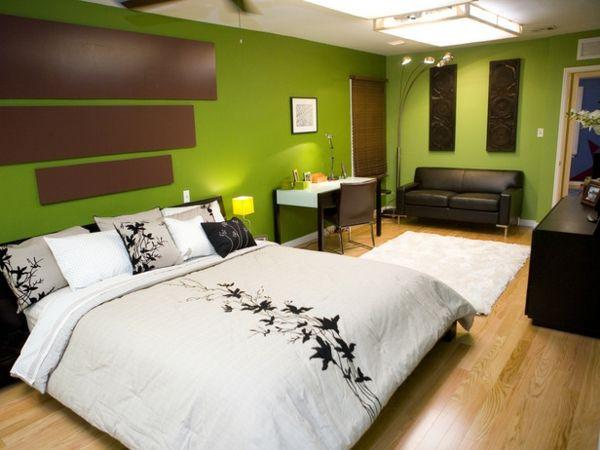 grüne-wandgestaltung-für-schlafzimmer-mit-braunen-akzenten DIY