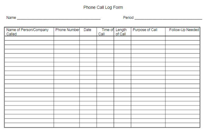Bullet Jouranling On The Job. Phone Call Log Form.