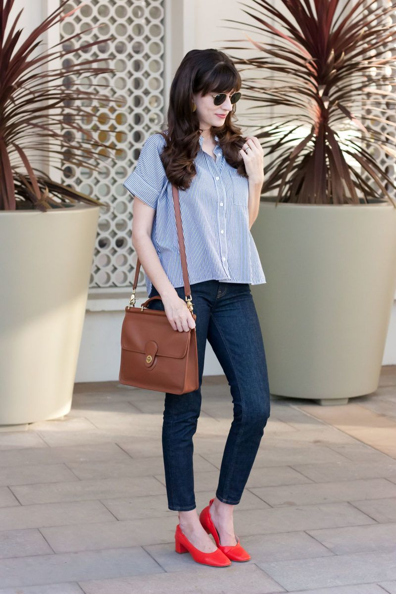 54db9a6fb89 Jeans and a Teacup wearing Everlane Outfit  Everlane square shirt ...