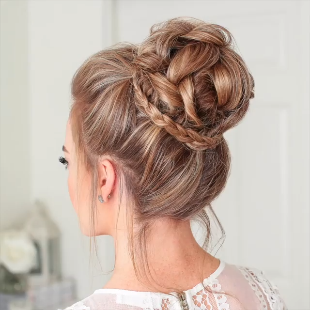 Braided Hair Bun Video #hairtutorials