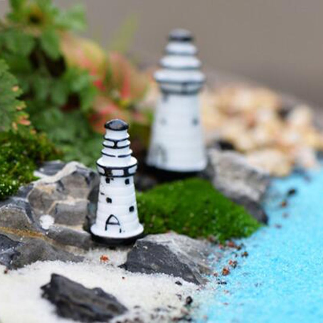 Mini Lighthouse Gardening Ornaments Resin Crafts Figurine Home ...