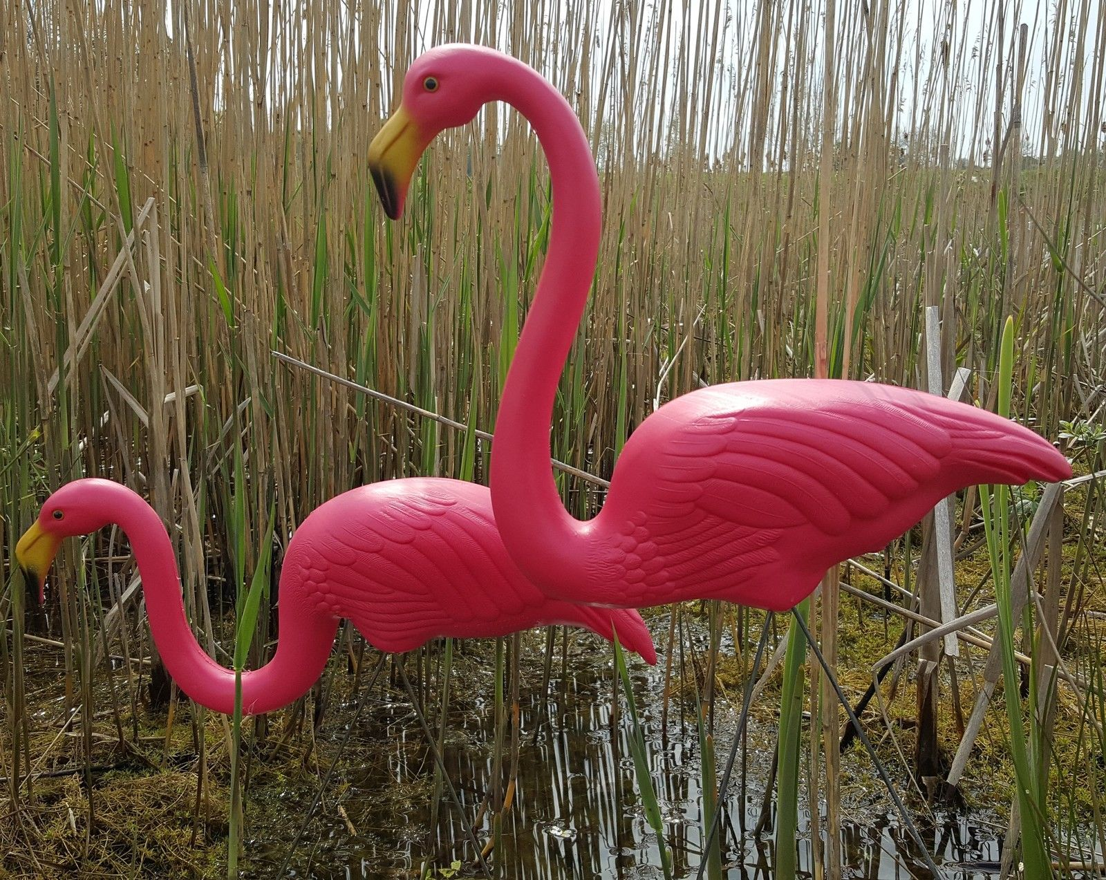 Pair Of Pink Lawn Pond Flamingo Plastic Garden Party