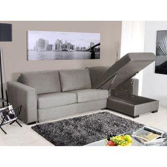 Canapé d angle tissu modulable convertible 5 places ouverture rapide