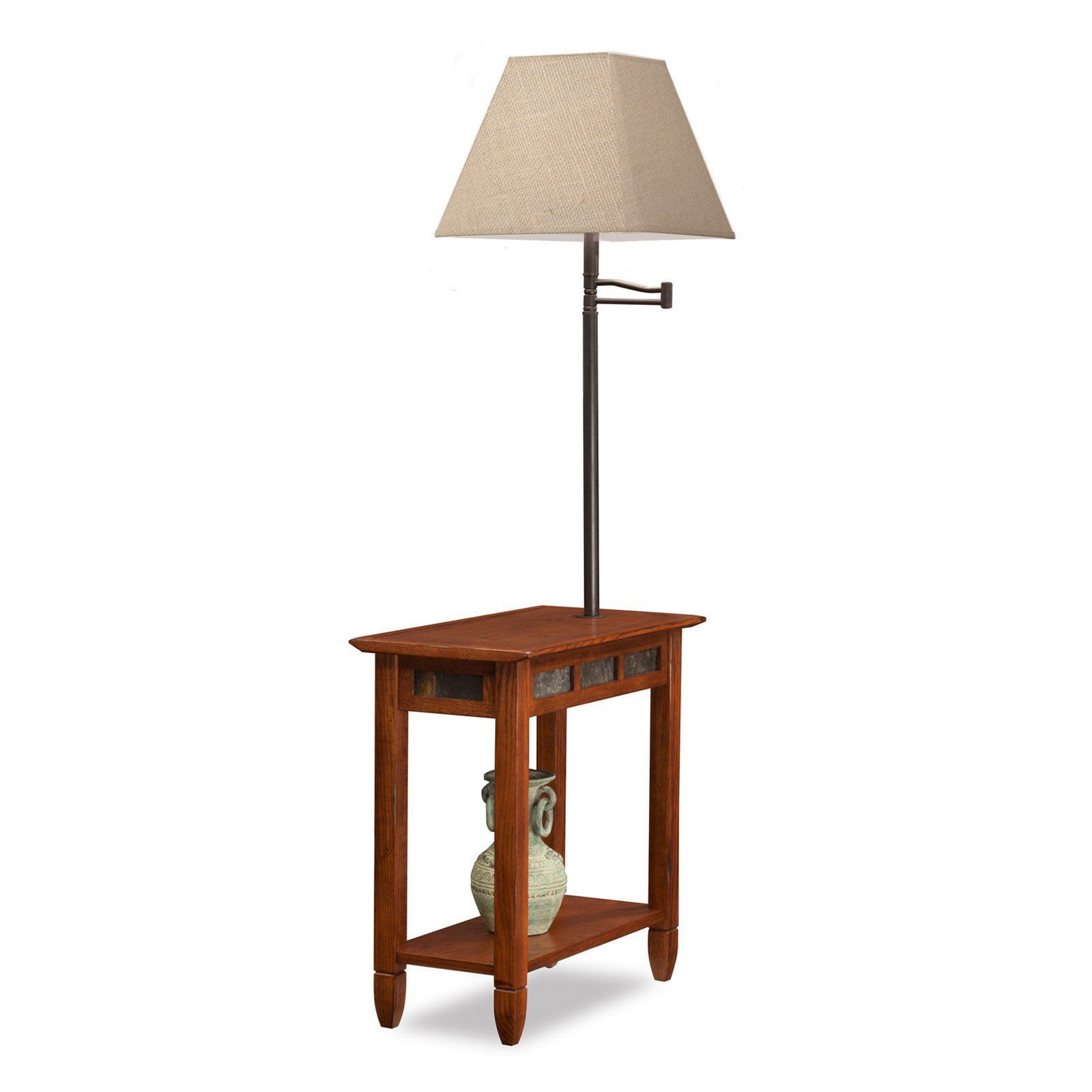 Leick Favorite Finds Rustic Slate Chairside Lamp End Table Rich