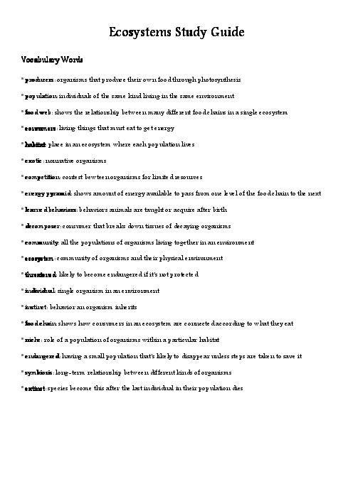 Ecosystem Study Guide - Basic Instruction Manual •